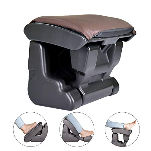 Ergonomic Footrest Foldable Ottomans Angle Height Adjustable Stool with 3 Functional Modes & Massage,Max 120 Pounds Load for Office,Under Desk,Car,Van Brown Color