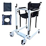 ZHDDM Steel Transport Wheelchair, Portable Patient Lift, Multifunctional Elderly Disabled Full Body Patient Transfer Lifter with Padded Seat - Use in Hospital, Home - Maximum Load 220lbs