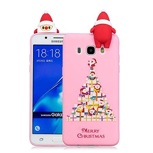 Natale Cover Per Samsung Galaxy J7 2016 Custodia, Spiritsun 3D Carino Ultraslim Silicone Soft TPU Design Di Natalizie Copertura Prevenzione Dei Graffi Custodia Per Samsung J7 2016(Regalo)