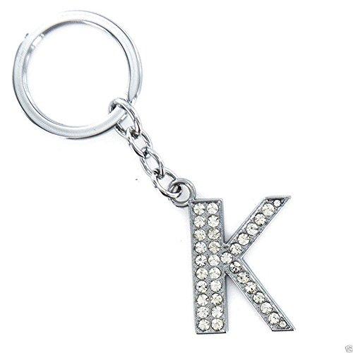 Gemini_mall Alphabet Keyring A-Z Initials Letter Key Ring Shiny Rhinestone Silver Key Chain (K)