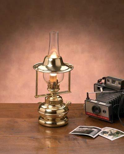 Messing Tischlampe Laterne massiv H:37cm antikes Design Jugendstil Petroleumlampe elektrisch E14