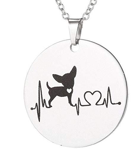 Merchandise for Fans Halskette rund aus Edelstahl in Silber Herzschlag|EKG - Chihuahua Hund Silhouette mit Herz