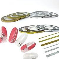 NaturalTrend ネイルアート用ラインテープ 1mm 2mm 3mm ネイルデザインテープ ジェルネイル ゴールド シルバー グリッターラインテープ (3mm, グリッターテープ/シルバー)
