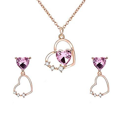 Schmuck-Set für Frauen und Strasssteine, hohl, Schmuck-Set für Damen, Halskette, Ohrringe, Brautschmuck, Schmuck-Set für Damen, Geschenk für Hochzeitskleid RM-1 rose gold