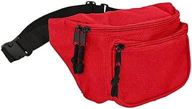 DALIX 3 Pocket Fanny Pack Money Pouch Concealer Runners Bag Waist Belt in Red