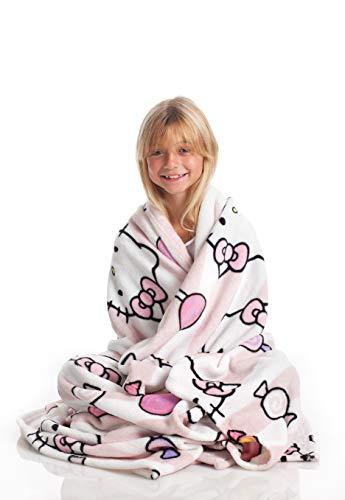 Kanguru Hello Kitty Tagesdecke, Flannel Fleece weich & warm kuscheldecke, 130 x 170 cm, Pinke mit Zeichen von Hello Kitty