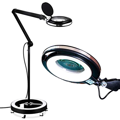 Brightech LightView Pro 6 Wheel Rolling Base Magnifying Floor Lamp - Magnifier with Bright LED Light for Facials, Lash Extensions - Standing Mag Lamp for Sewing, Cross Stitch, Crafts