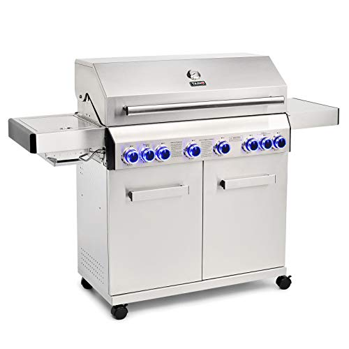 TAINO Platinum Gasgrill komplett Edelstahl Backburner Sear-Burner Power-Zone Keramik-Brenner BBQ Grillwagen Griller Gusseisen Seitenkocher Piezozündung (Platinum 6+2)