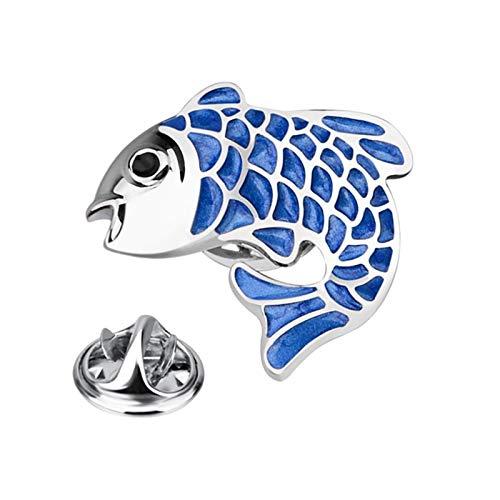 Bonarty Moda Carpa Broche Pin Collar Insignia Ramillete Mujeres Hombres Regalo de Boda Azul