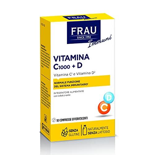 FRAU Vitamina C 1000 + D, Integratore vitamina C e vitamina D, 10 Compresse effervescenti, Integratore sistema immunitario e Integratore articolazioni, Senza Glutine