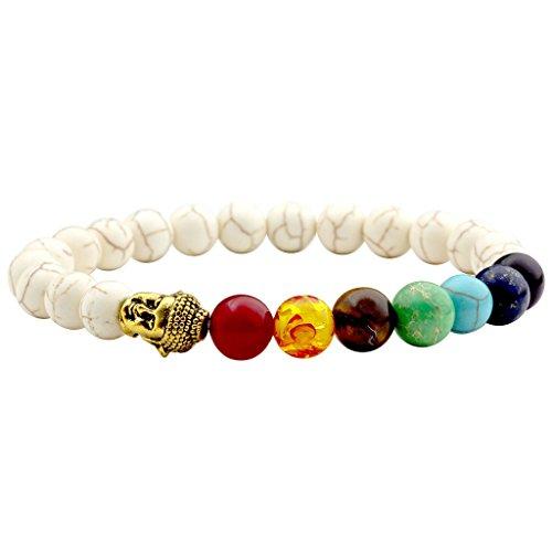 Jovivi Schmuck,Lava-Armband Damen Herren Reiki-Energietherapie Armreif 7 Chakra Healing Buddha-Armband,Howlith Türkis mit Gold Buddha Kopf