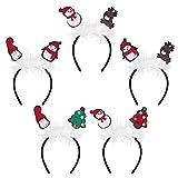 Beaupretty Vinchas para La Cabeza de Navidad: 5 Piezas Santa Claus Muñeco de Nieve Reno Árbol de Navidad Diadema- Accesorios para El Cabello de Plumas para Disfraz de Halloween