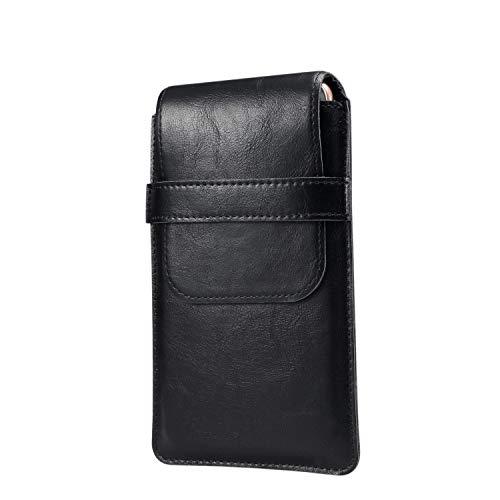 GUOQING Funda universal de piel con clip para cinturón de teléfono, con clip para cinturón, de Utral, delgada, informal, para teléfono móvil, color negro, talla: L)