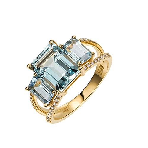 AmDxD oro amarillo 18 quilates (750) emerald-shape Blue White Aquamarine