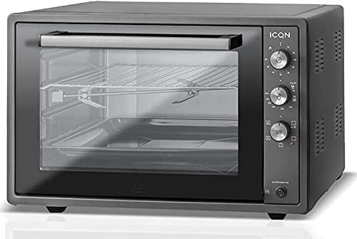 ICQN Horno de Pizza 70XXL | 1800W con luz interior y convección | Puerta Doble Cristal | Reloj Temporizador | Interior Esmaltado | Color Negro