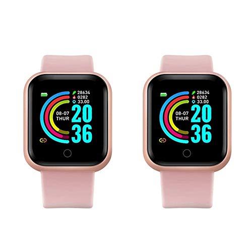 Reloj inteligente para hombres y mujeres, Android, Bluetooth, medición de presión arterial, frecuencia cardíaca, reloj deportivo (color: D20 rosa x 2)