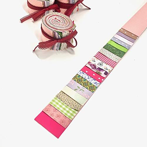 Jelly Roll Vintage Garden - die Jelly Roll beinhaltet 20 Streifen à 2,5 Inch (=6,5cm) Breite und 135 cm Länge 100% Baumwolle 1m Schrägband mit Häkelborte