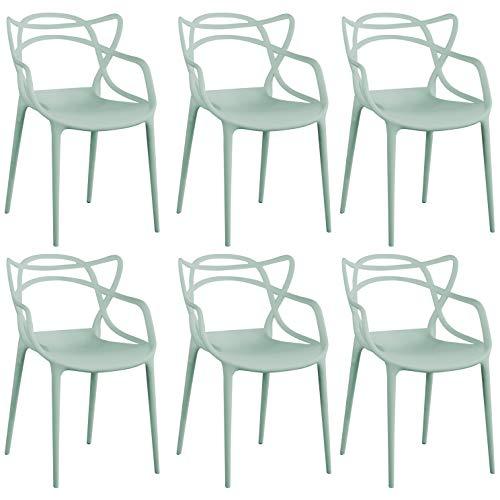 Milani Home s.r.l.s. Set di 6 Sedia in Polipropilene Plastica Verde di Alta qualità di Design per Interno E Giardino Stile Moderno per Sala da Pranzo, Cucina