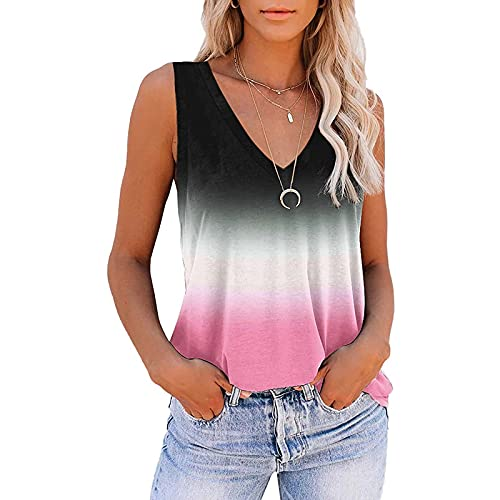 FABIURT Womens Tank Tops Casual Womens Summer Sleeveless V Neck Solid Color Casual Swing Shirts Flowy Tank Tops Blouses with Buttons