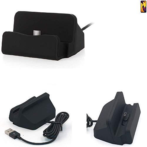 K-S-Trade Dock USB para El Huawei P20 Lite Dual-SIM, Negro   Estación De Carga Base Cargador De Escritorio Estacion Compacto Y Discreto. Type C Docking Station