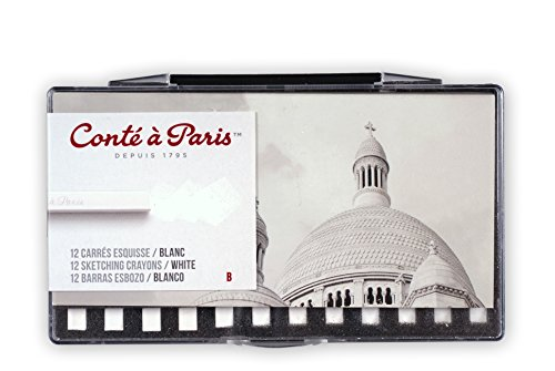 Conté à Paris Sketching Carre Crayons - White B (Pack of 12)