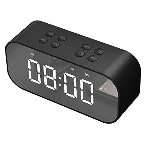 OBEST クロックラジオ デジタル アラーム 目ざまし時計 デジタル Bluetooth 5.0 LED 多機能 音楽放送 三段輝度調整 AUX/TFカード搭載 高画質ディスプレイ 鏡 置き時計 多機能 省エネ (ブラック)