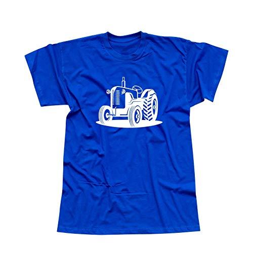 T-Shirt Traktor Oldtimer Trecker Landmaschinen Bauer 13 Farben Herren XS - 5XL Claas Fendt Deutz Landwirtschaft Landtechnik Unimog, Größe:M, Farbe:Royalblau - Logo Weiss