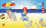 Fanshop Lünen Fahne - Flagge - Moin, Moin, Meerjungfrau - Seehund - Leuchtturm - Schiff - Strand - Kinder - 90x150 cm - Hissfahne mit Ösen -
