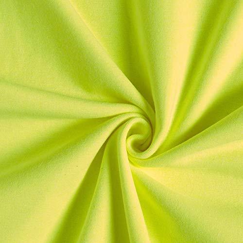 Fabulous Fabrics Bündchen Neongelb, Uni, 35cm breit – Bündchen zum Nähen von Sweatshirts, Tops und Sportkleidung – Meterware erhältlich ab 0,5 m