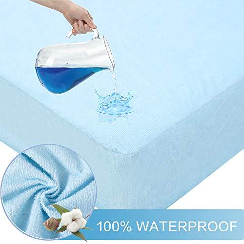 Bedecor Fünf Seiten Wasserdicht Matratzenschoner -Schützen Sie die Oberseite und die Seiten der Matratze vor Flüssigkeitserosion Baumwolle - Blau 180x200cm