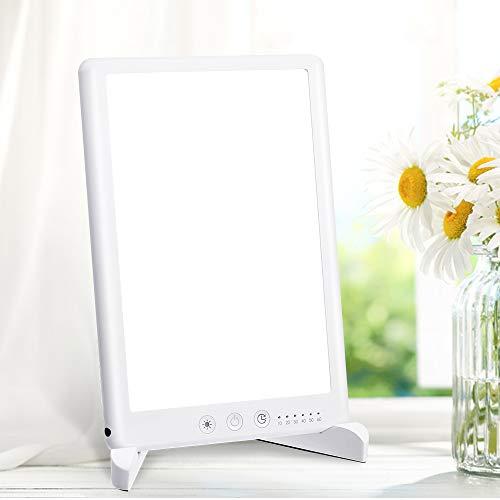 Tageslichtlampe 10000 Lux, SOLMORE Lichttherapielampe gegen Depressionen mit 6 Timer Dimmbar Memoryfunktion und Halterung, 6500K LED Sonnenlicht, UV-frei Daylight Lampe