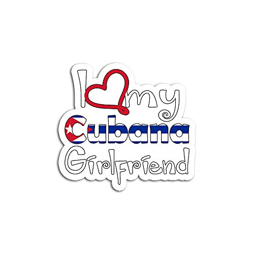 Hand Wooden Customizable Pegatinas Personalizables de Madera para Camisetas Cubanas I Love My Cubana Girlfriend Cubana (3 Piezas/Paquete)