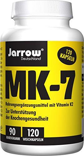 MK-7 Vitamin K2 90 µg, all-trans, 120 Weichkapseln in Olivenöl, optimal bioverfügbar, Jarrow Deutschland
