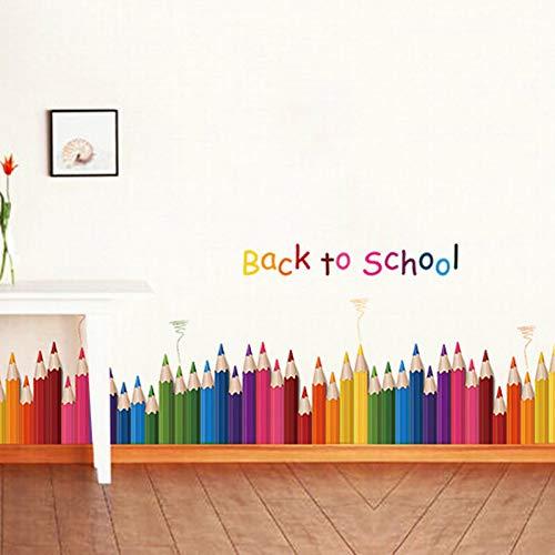 TYOLOMZ DIY Kleurrijke Potloden Terug naar School Muursticker Verwijderbare Vinyl muurschildering Art Decals Kleuterschool Kwekerij Speelkamer Decoratie