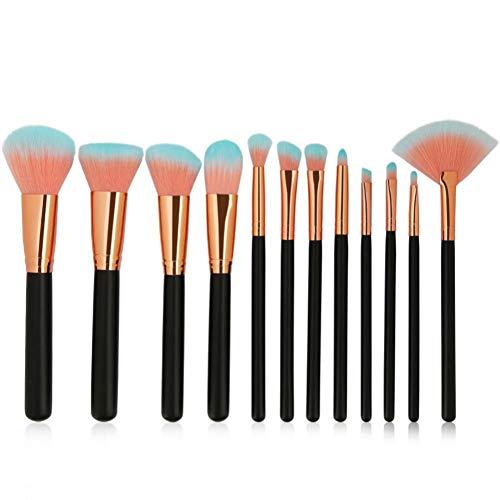 KDBHM Pinceau de Maquillage 6-12 Pcs/Pack Pinceaux De Maquillage Ensemble De Cosmétiques Fondation Poudre Blush Ombre À Paupières Mélange Lèvres Maquillage Beauté Brosse Kits D'outils,12pcs Noir
