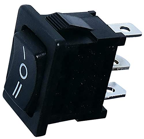 AERZETIX: Interruptor conmutador basculantes de boton SP3T ON-OFF-ON 10A/250V 16A/12V, 3 posiciones, Negro C10758
