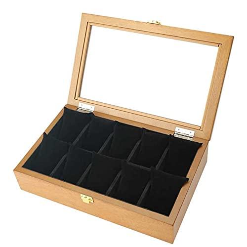 Adesign 10 Caja de reloj para hombres Mire la caja de la pantalla de la pantalla de la pantalla de la pantalla de la pantalla de lujo con la ventana de cristal grande, la caja del organizador del relo