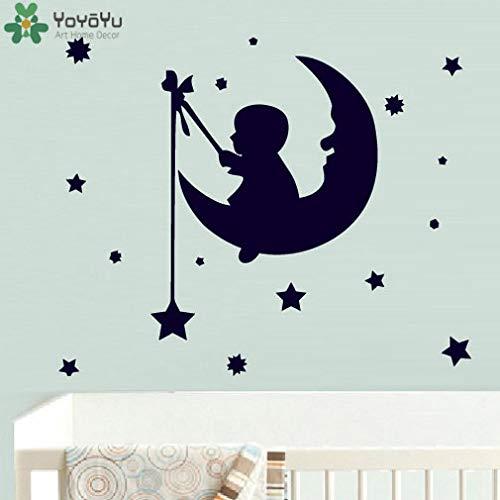BailongXiao Baby Schlafzimmer wandtattoo mondhalbmond Stern Muster Vinyl wandaufkleber kinderzimmer Junge Angeln niedlich Dekoration wandbild 42x35 cm