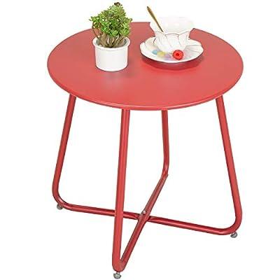 Grand patio Premium Indoor/Outdoor Round Metal Weather-Resistant Side/Accent Table for Patio, Yard, Balcony, Garden (Dark red)