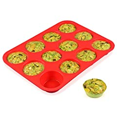 "FOOD GRADE MUFFIN PAN: Pan weights: 7.7oz. Cup diameter top: 2.75"", cup depth: 1.1"" EASY BAKING & RELEASE: Non-stick surface and flexible, just pop out with pressed finger, easy to release and clean, these muffin tins set is impermeable, practicality..."