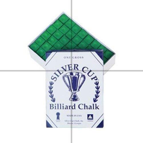 Silver Cup Marque Billard Craie, Boîte de 144, Couleur Vert