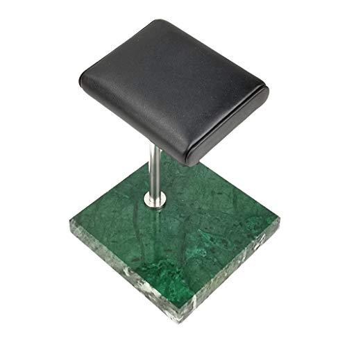 Harilla Luxury Marble & PU Watch Holder Storage Organizer for Retail Countertop - Green Marble Base + Silver Stand, 10x10x14cm
