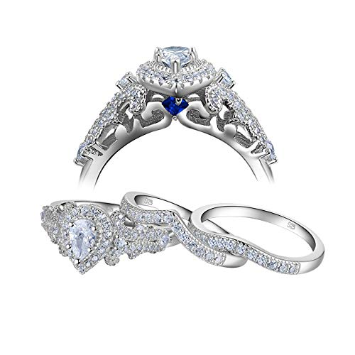 Newshe 2pcs Bridal Set 1.4ct Pear White CZ 925 Sterling Silver Wedding Engagement Ring Set Size O