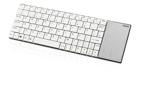 Rapoo E2710 kabellose Tastatur, 2.4 GHz Wireless via USB, Multimedia, flaches Edelstahl Design, Touchpad, für Smart TV/Media PC, DE-Layout QWERTZ, weiß