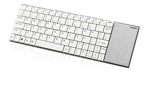 Rapoo E2710 kabellose Tastatur, 2.4 GHz Wireless via USB, Multimedia, flaches Edelstahl Design, Touchpad, für Smart TV/Media PC, DE-Layout QWERTZ, weiß