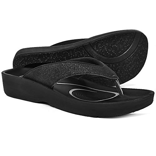 AEROTHOTIC Women's Comfortable Orthotic Flip-Flops Sandal (US Women 7, Crystal Black)
