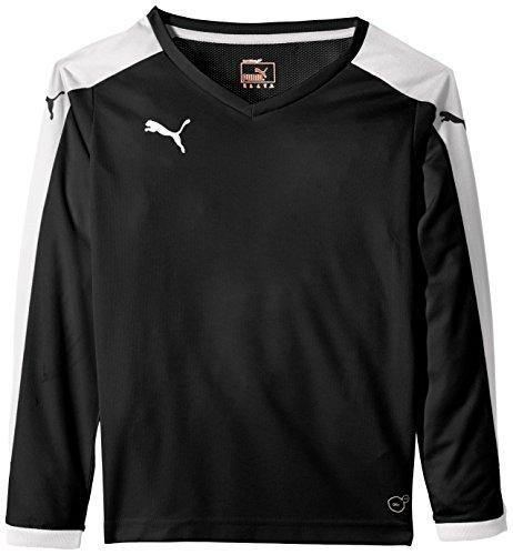 PUMA Kinder Langarmshirt Pitch Long sleeve T-shirt, black-White, 128
