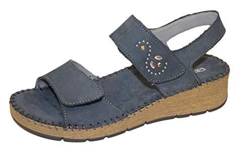 Grunland PALO 2507 Blu Sandalo Donna Nabuk Due Velcro (Numeric_38)