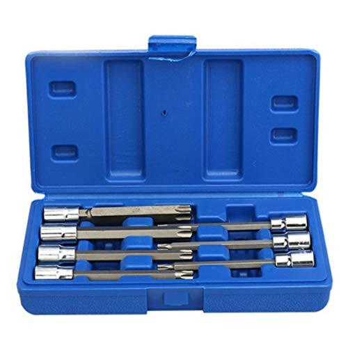 Fransande - Juego de 7 herramientas de vaso de 3/8 pulgadas, juego de puntas de estrella Torx extra larga T25 T30 T40 T45 T50 T55 T60