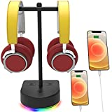 RGB Dual Headphone Stand with USB Charging Port, Desk Gaming Double Headset Holder,Durable Headset Hanger Rack-Suitable for Desktop Table, Game, DJ, Earphone, PC, PS4, PS5, Xbox Gamer Accessories